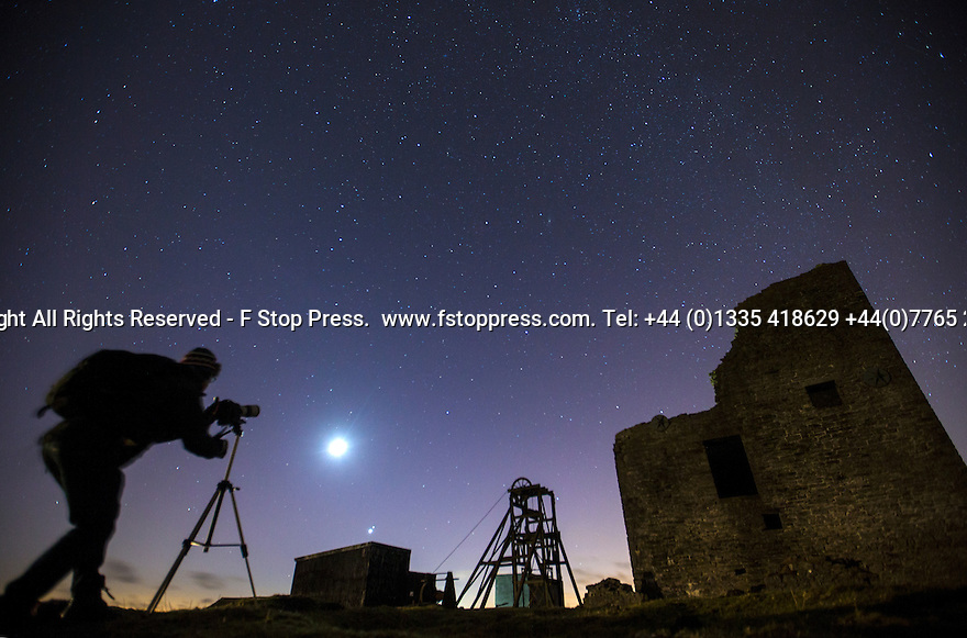 21/02/15  <br /> <br /> An amateur astronomer photographs Mars and Venus as they appear above the horizon (below the moon) over Magpie Mine, an old lead mine near Monyash, in the Derbyshire Peak District. It is the closest conjunction of the two planets since September 11, 2008. They won't couple up this closely again until October 5, 2017<br /> <br /> All Rights Reserved - F Stop Press.  www.fstoppress.com. Tel: +44 (0)1335 418629 +44(0)7765 242650
