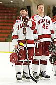 Daniel Moriarty (Harvard - 11), Brendan Rempel (Harvard - 42) - The Harvard University Crimson defeated the St. Lawrence University Saints 4-3 on senior night Saturday, February 26, 2011, at Bright Hockey Center in Cambridge, Massachusetts.