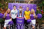 Ella Scanlon and Katie Walsh pictured with Diarmuid Kearney and Brendan Kennelly  with the Premier League Cup in SuperValu Tralee on Wednesday afternoon.