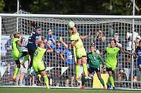 Kansas City, MO - Saturday June 25, 2016:  Jessica Fishlock, Shea Groom, Merritt Mathias, Beverly Yanez during a regular season National Women's Soccer League (NWSL) match at Swope Soccer Village.