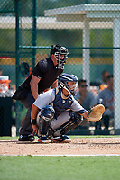 Detroit Tigers catcher Sam McMillan (32) waits to receive a pitch in front of home plate umpire Kevin Levine during a Florida Instructional League game against the Pittsburgh Pirates on October 2, 2018 at the Pirate City in Bradenton, Florida.  (Mike Janes/Four Seam Images)