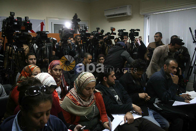 Egyptian members of the National Salvation Front (NSF) attend a press conference to determinate the participation in elections, in Cairo on march 05, 2013. Egypt's National Salvation Front (NSF), a coalition of opposition parties and groups, announced on Jan, 2013 that it will boycott parliamentary elections set to start on April 22, saying there must first be a law guaranteeing a free and fair vote. Photo by Tareq al-Gabas