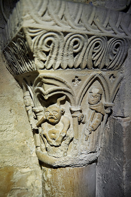 Medieval capitals from the crypt of the Gothic Cathedral Basilica of Saint Denis ( Basilique Saint-Denis ) Paris, France. A UNESCO World Heritage Site.