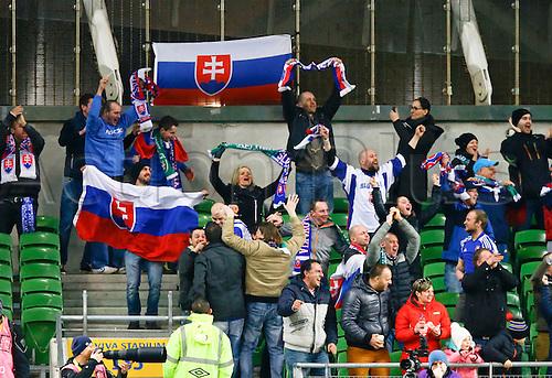 29.03.2016. Aviva Stadium, Dublin, Ireland. International Football Friendly Rep. of Ireland versus Slovakia. <br /> Slovak fans cheer another goal.