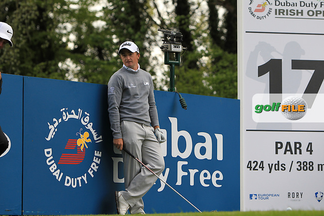 Paul Dunne (IRL) on the 17th tee during Wednesday's Pro-Am round of the Dubai Duty Free Irish Open presented  by the Rory Foundation at The K Club, Straffan, Co. Kildare<br /> Picture: Golffile | Thos Caffrey<br /> <br /> All photo usage must carry mandatory copyright credit <br /> (&copy; Golffile | Thos Caffrey)
