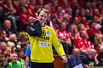 Eskilstuna 2014-05-15 Handboll SM-semifinal Eskilstuna Guif - Alings&aring;s HK :  <br /> Alings&aring;s m&aring;lvakt Mikael Aggefors grimaserar<br /> (Foto: Kenta J&ouml;nsson) Nyckelord:  Eskilstuna Guif Sporthallen Alings&aring;s AHK SM Semifinal Semi portr&auml;tt portrait