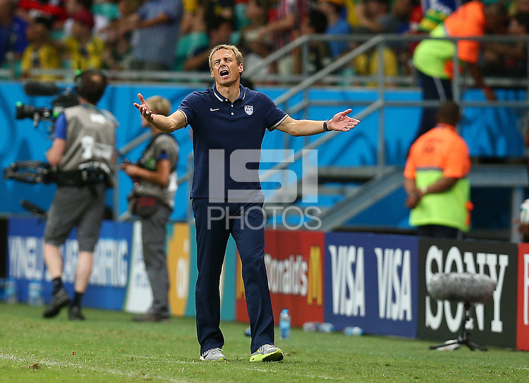 USA coach Juergen Klinsmann gestures in frustration