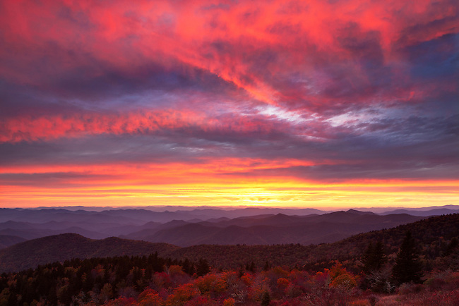 Autumn sunset over the Cowee Mountains, Blue Ridge Parkway