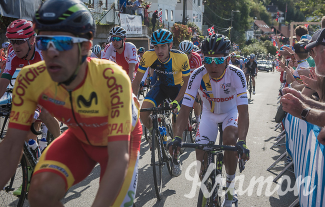 Nairo Quintana (COL/Movistar) up Salmon Hill<br /> <br /> Men Elite Road Race<br /> <br /> UCI 2017 Road World Championships - Bergen/Norway