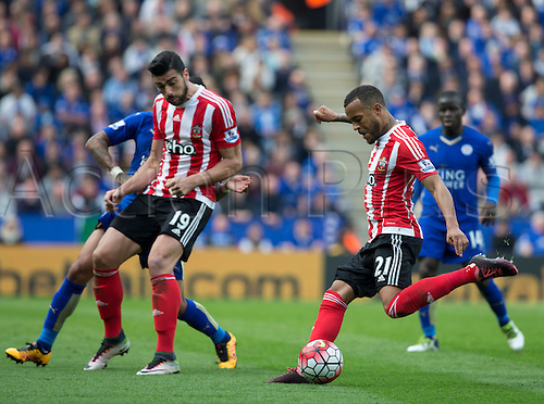 03.04.2016. King Power Stadium, Leicester, England. Barclays Premier League. Leicester versus Southampton. Southampton defender Ryan Bertrand takes a shot at goal.