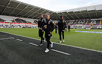 Bournemouth players on the pitch before the Barclays Premier League match between Swansea City and Bournemouth at the Liberty Stadium, Swansea on November 21 2015