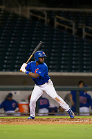 AZL Cubs second baseman Delvin Zinn (21) bats during a game against the AZL Brewers on August 6, 2017 at Sloan Park in Mesa, Arizona. AZL Cubs defeated the AZL Brewers 8-7. (Zachary Lucy/Four Seam Images)