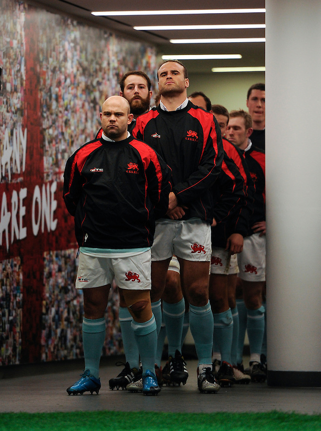 Cambridge University&rsquo;s Don Stevens with Jamie Roberts behind him waiting to come out onto the pitch<br /> <br /> Photographer Ashley Western/CameraSport<br /> <br /> Rugby Union - 2015 Varsity Match - Oxford v Cambridge - Thursday 10th December 2015 - Twickenham - London<br /> <br /> &copy; CameraSport - 43 Linden Ave. Countesthorpe. Leicester. England. LE8 5PG - Tel: +44 (0) 116 277 4147 - admin@camerasport.com - www.camerasport.com