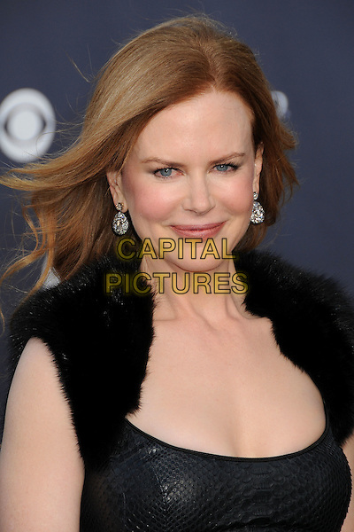 NICOLE KIDMAN.46th Annual Academy of Country Music Awards - Arrivals held at the MGM Grand Garden Arena, Las Vegas, Nevada, USA..April 3rd, 2011.headshot portrait black leather fur cleavage .CAP/ADM/BP.©Byron Purvis/AdMedia/Capital Pictures.