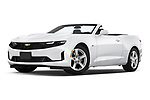 Stock pictures of low aggressive front three quarter view of 2020 Chevrolet Camaro 1LT 2 Door Convertible Low Aggressive