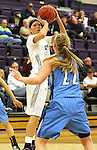 SIOUX FALLS, SD - DECEMBER 5:  Teagan Molden #30 from the University of Sioux Falls spots up for a jumper over Lauren Buck #22 from Upper Iowa in the first half of their game Friday night at the Stewart Center.  (Photo by Dave Eggen/inertia)