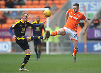 Blackpool's Oliver Turton vies for possession with Oxford United's Mark Sykes<br /> <br /> Photographer Kevin Barnes/CameraSport<br /> <br /> The EFL Sky Bet League One - Blackpool v Oxford United - Saturday 23rd February 2019 - Bloomfield Road - Blackpool<br /> <br /> World Copyright © 2019 CameraSport. All rights reserved. 43 Linden Ave. Countesthorpe. Leicester. England. LE8 5PG - Tel: +44 (0) 116 277 4147 - admin@camerasport.com - www.camerasport.com