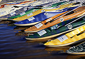 Costa do Sauipe, Brazil. Tourist resort; multicoloured kayaks from the Centro Nautico. Bahia State.