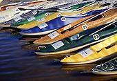 Costa do Sauipe, Brazil. Tourist resort; multicoloured kayaks from the Centro Nautico. Bahia State.