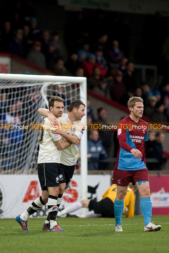 Brett Pitman (Bournemouth) celebrates Lewis Grabban (Bournemouth) opener .- Scunthorpe United vs AFC Bournemouth - NPower League One Football at Glanford Park - 08/12/12 - MANDATORY CREDIT: Mark Hodsman/TGSPHOTO - Self billing applies where appropriate - 0845 094 6026 - contact@tgsphoto.co.uk - NO UNPAID USE.