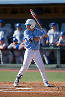 Brandon Riley (1) of the North Carolina Tar Heels at bat against the Kentucky Wildcats at Boshmer Stadium on February 17, 2017 in Chapel Hill, North Carolina.  The Tar Heels defeated the Wildcats 3-1.  (Brian Westerholt/Four Seam Images)