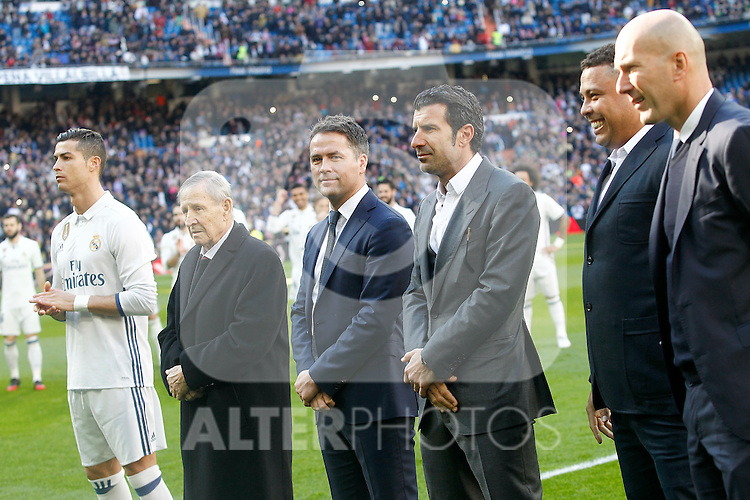 Real Madrid's golden ball players Cristiano Ronaldo, Kopa, Michael Owen, Luis Figo, Ronaldo Nazario and Zinedine Zidane during La Liga match. January 7,2016. (ALTERPHOTOS/Acero)