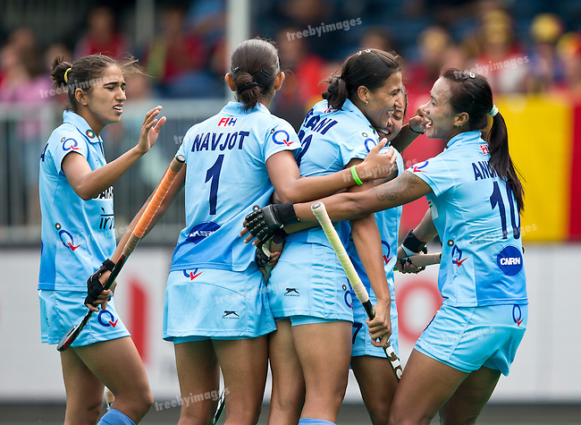24/06/2015<br /> HWL Semi Final Antwerp Belgium 2015<br /> India v Poland Women<br /> <br /> Photo: Grant Treeby