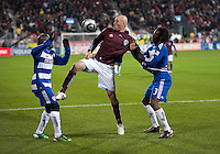 21 November 2010:  Colorado Rapids forward Conor Casey #9 battles with FC Dallas defender Jair Benitez #5 and FC Dallas midfielder Dax McCarty #13 during the 2010 MLS Cup Final between the Colorado Rapids and FC Dallas at BMO Field in Toronto, Ontario Canada...