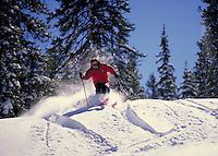 Tim Nixon (MR417) Alpine Skiing in the powder, Outback Area, Keystone Resort Ski Area, Summit County, Colorado. Tim Nixon (MR417). Summit County, Colorado Keystone Resort Ski Area.