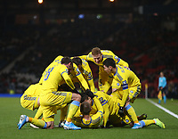 19th November 2019; Hampden Park, Glasgow, Scotland; European Championships 2020 Qualifier, Scotland versus Kazakhstan; The Kazakhstan players surround Baktiyor Zainutdinov of Kazakhstan after his goal makes it 1-0 in the 34th minute - Editorial Use