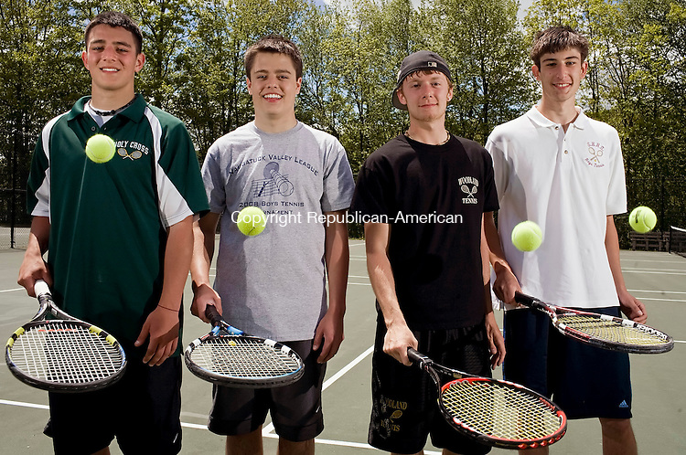 WATERTOWN--23 May 08--052308TJ09 - Holy Cross' Joe Giannelli, from left, and Devin McNamara, Woodland's Marcus Tremaglio, and Sacred Heart's Stephen DeGannaro are the All-NVL singles players, seen at Crestbrook Park on Friday, May 23, 2008. (T.J. Kirkpatrick/Republican-American)