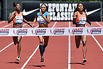 Allyson Felix of the USA (c) heads to the finish line to win the Women's 400 meters on the final day of the Prefontaine Classic at Hayward Field in Eugene, Oregon, USA, 30 MAY 2015. (EPA photo by Steve Dykes)