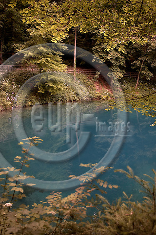 """BLAUBEUREN - GERMANY 18. JUNE 2006 -- Blautopf, a spring in the town of Blaubeuren, where the water from the Schwaebische Alb (Swabian Alb) comes out -- PHOTO: CHRISTIAN T. JOERGENSEN / EUP & IMAGES..This image is delivered according to terms set out in """"Terms - Prices & Terms"""". (Please see www.eup-images.com for more details)"""