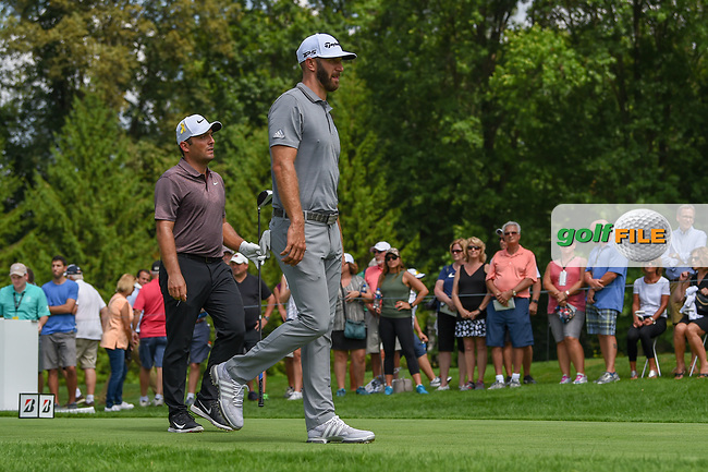 Dustin Johnson (USA) and Francesco Molinari (ITA) head down 4 during 1st round of the World Golf Championships - Bridgestone Invitational, at the Firestone Country Club, Akron, Ohio. 8/2/2018.<br /> Picture: Golffile | Ken Murray<br /> <br /> <br /> All photo usage must carry mandatory copyright credit (© Golffile | Ken Murray)
