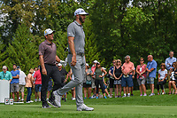 Dustin Johnson (USA) and Francesco Molinari (ITA) head down 4 during 1st round of the World Golf Championships - Bridgestone Invitational, at the Firestone Country Club, Akron, Ohio. 8/2/2018.<br /> Picture: Golffile | Ken Murray<br /> <br /> <br /> All photo usage must carry mandatory copyright credit (&copy; Golffile | Ken Murray)