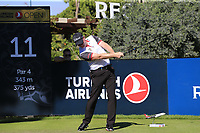 Richard McEvoy (ENG) tees off the 11th tee during Friday's Round 2 of the 2018 Turkish Airlines Open hosted by Regnum Carya Golf &amp; Spa Resort, Antalya, Turkey. 2nd November 2018.<br /> Picture: Eoin Clarke | Golffile<br /> <br /> <br /> All photos usage must carry mandatory copyright credit (&copy; Golffile | Eoin Clarke)