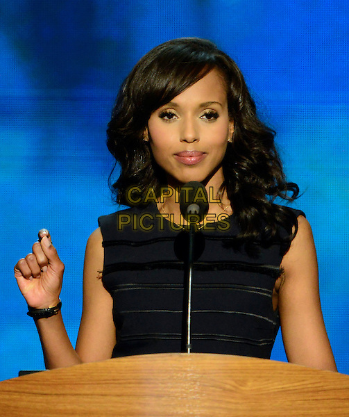 Kerry Washington.at the 2012 Democratic National Convention in Charlotte, North Carolina, USA, September 6th, 2012.  .half length speaking podium microphone black sleeveless dress hand .CAP/ADM/CNP/RS.©Ron Sachs/CNP/ADM/Capital Pictures.