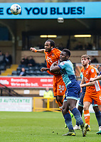 Nathan Delfouneso of Blackpool and Aaron Pierre of Wycombe Wanderers during the Sky Bet League 2 match between Wycombe Wanderers and Blackpool at Adams Park, High Wycombe, England on the 11th March 2017. Photo by Liam McAvoy.