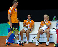 2016, 12 April, Arena Loire, Tr&eacute;laz&egrave;,  Semifinal FedCup, France-Netherlands,  Dutch players Cindy Burger and Kiki Bertens (R) with captain Paul Haarhuis<br /> Photo:Tennisimages/Henk Koster