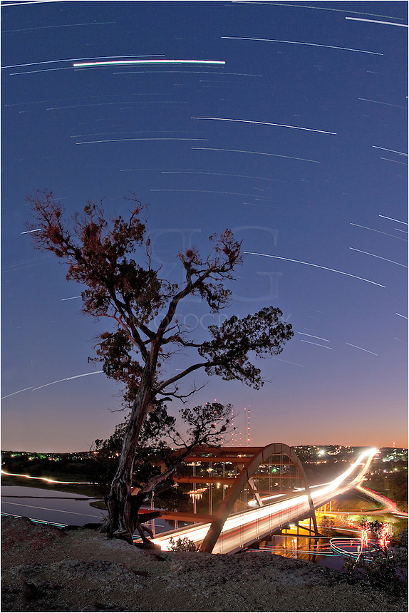From the Pennybacker Bridge overlook, I set the timer on the camera for long exposures and captured about 45 minutes of star trails as they moved across the overlook. From this perch overlooking the 360 Bridge and the river below, you have great views of not only the bridge, but also the distant Austin Skyline.