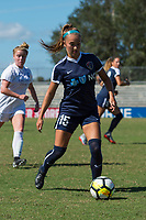 Sanford, FL - Saturday Oct. 14, 2017:  A Courage player sets up to pass a ball during a US Soccer Girls' Development Academy match between Orlando Pride and NC Courage at Seminole Soccer Complex. The Courage defeated the Pride 3-1.
