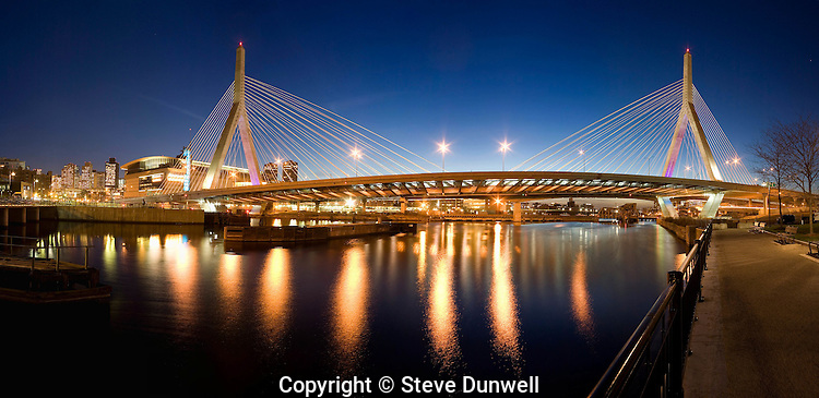 Leonard P. Zakim bridge panorama, evening sunset, from Gridley Locks, Boston, MA