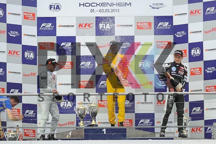 Das Siegerpodest: der Sieger # 3 Antonio Giovinazzi / ITA von Jagonya Ayam with Carlin links Platz 2 mit # 1 Felix Rosenqvist / SWE Prema Powerteam und rechts auf Platz 3 # 7 Charles Leclerc / MON vom Van Amersfoort Racing  bei der FIA Formula F 3 auf dem Hockenheimring.<br /> <br /> Foto &copy; P-I-X.org *** Foto ist honorarpflichtig! *** Auf Anfrage in hoeherer Qualitaet/Aufloesung. Belegexemplar erbeten. Veroeffentlichung ausschliesslich fuer journalistisch-publizistische Zwecke. For editorial use only.