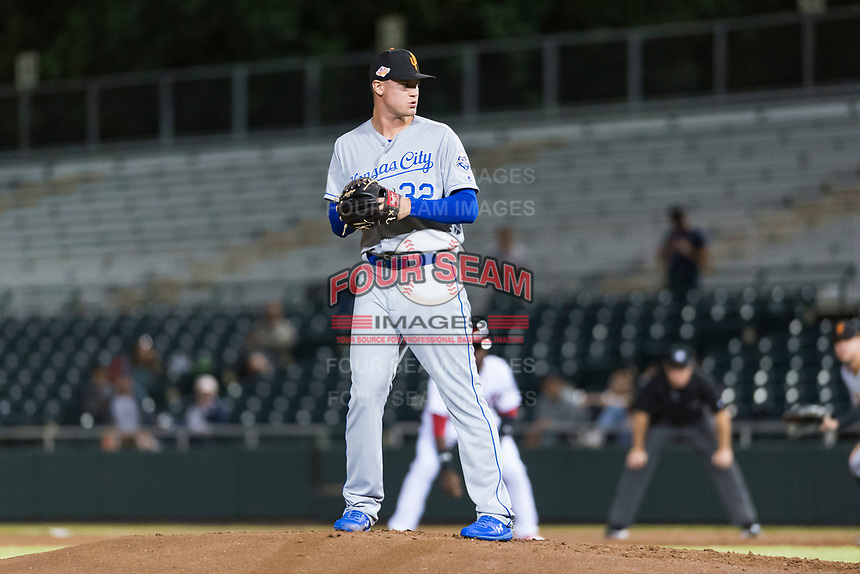 Surprise Saguaros starting pitcher Scott Blewett (32), of the Kansas City Royals organization, gets ready to deliver a pitch during an Arizona Fall League game against the Scottsdale Scorpions at Scottsdale Stadium on October 15, 2018 in Scottsdale, Arizona. Surprise defeated Scottsdale 2-0. (Zachary Lucy/Four Seam Images)