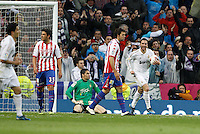 14.04.2012 SPAIN -  La Liga matchday 34th  match played between Real Madrid CF vs Real Sporting de Gijon (3-1) at Santiago Bernabeu stadium. The picture show Gonzalo Higuain (Argentine/French Forward of Real Madrid) celebrating his team's goal