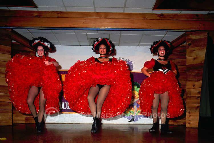 Whitehorse, YT, Yukon Territory, Canada - Cancan / Can Can Girls, Dancers dancing at Frantic Follies