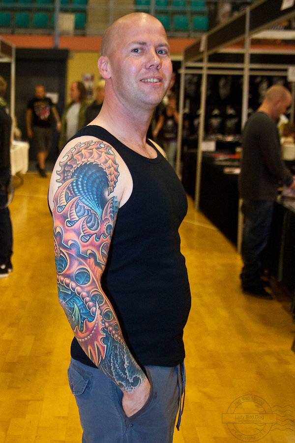 Tattoo Convention in Kolding 2011. Arranged by BodyMod.dk<br /> Man with full sleeve.