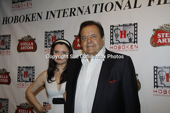 """The film """"Price for Freedom"""" worldwide premiere Paul Sorvino (honored here tonight with the Lifetime Achievement Award by Mandy) poses withhis wife Dee Dee Benkie - 10th Anniversary of the Hoboken International Film Festival on May 29, 2015 at the Paramount Theatre, Middletown, NY - runs through June 4. (Photos by Sue Coflin/Max Photos)"""