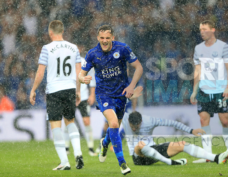 Leicester's Andy King celebrates scoring his sides second goal during the Barclays Premier League match at the King Power Stadium.  Photo credit should read: David Klein/Sportimage