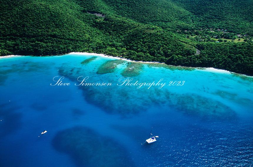 Aerial view of Hawksnest Bay<br /> Virgin Islands National Park<br /> St. John<br /> U.S. Virgin Islands